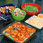 Spicy Shrimp Tacos with Blueberry Peach Salsa