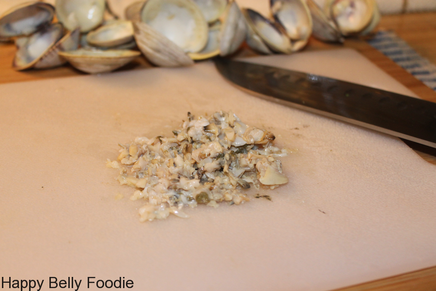 chopping cooked clams