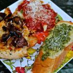 Pesto Crostini and Grilled Garlic Chicken