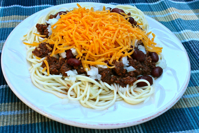 Pressure Cooker Cincinnati Style Chili is delicious and simple to make. Warm up with this cozy, copy cat style meal in just a few minutes.