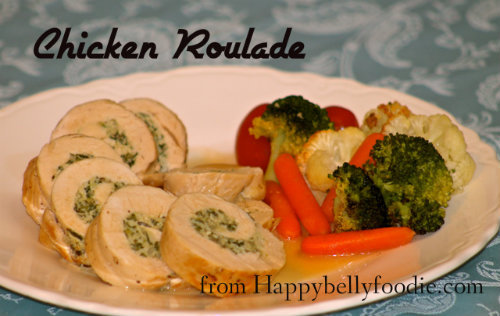 Chicken Roulade is a beautiful and delicious way to dress up your chicken. Make it tonight! Get the recipe at Happybellyfoodie.com