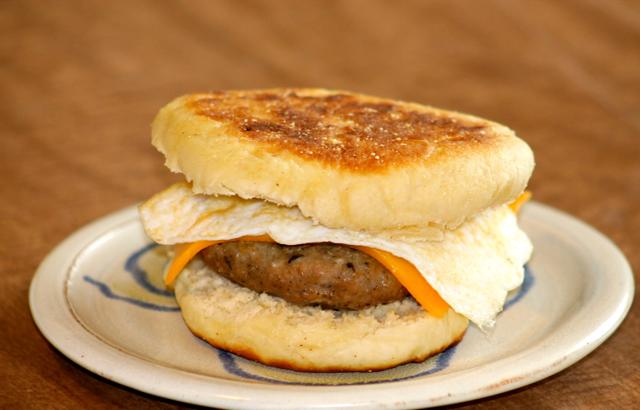 English muffin with homemade sausage patty