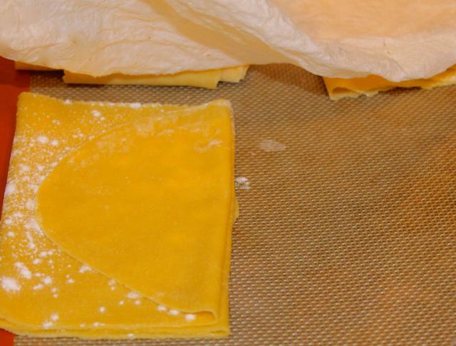 Pasta sheet folded